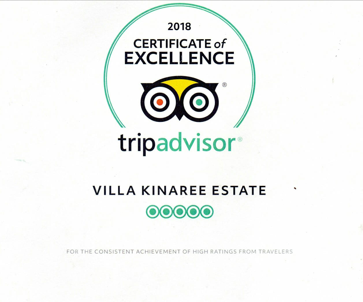 Villa Kinaree Estate: TripAdvisor Certificate of Excellence for 2018